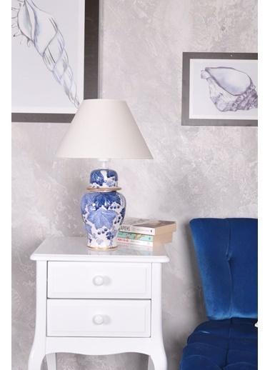 Qdec qdec Bleu Blanc Şah Vazo Abajur Yaprak Kabarık K.Beyaz Beyaz
